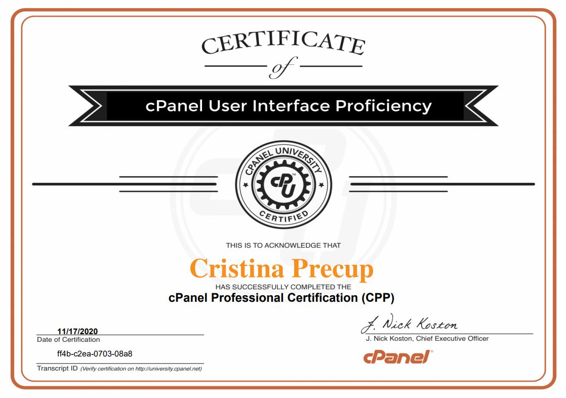 Certificat cPanel Professional (CPP)
