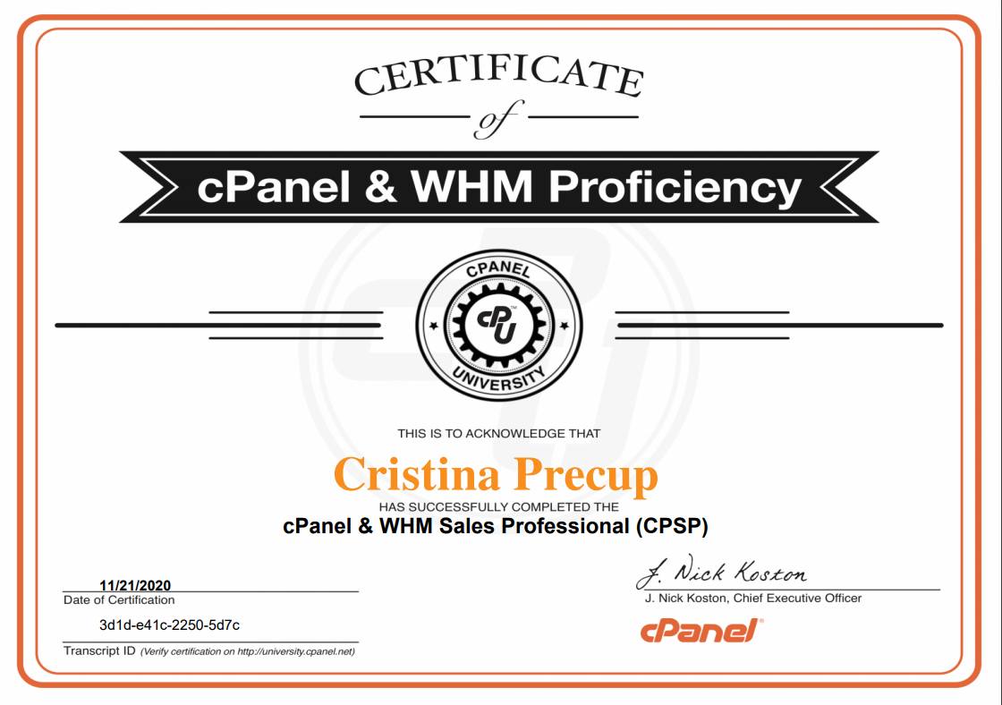 Certificat cPanel WHM Sales Professional (CPSP)