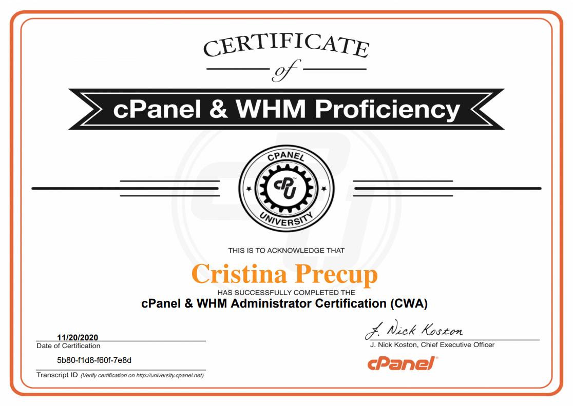 Certificat cPanel WHM Administrator (CWA)