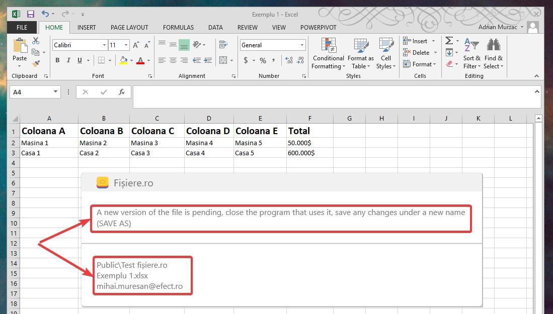 Aplicația Fișiere.ro mă avertizează că un alt utilizator a accesat și modificat fișierul pe care lucrez și, deci, ar trebui să salvez documentul sub un alt nume pentru a nu pierde modificările făcute.