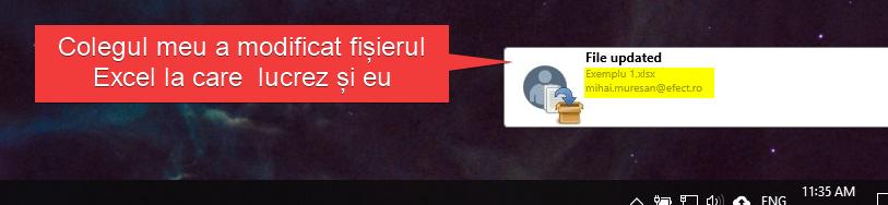 Notificarea din partea aplicației Fișiere.ro conform căreia fișierul meu a fost accesat & modificat de către un alt utilizator care are acces la fișier.