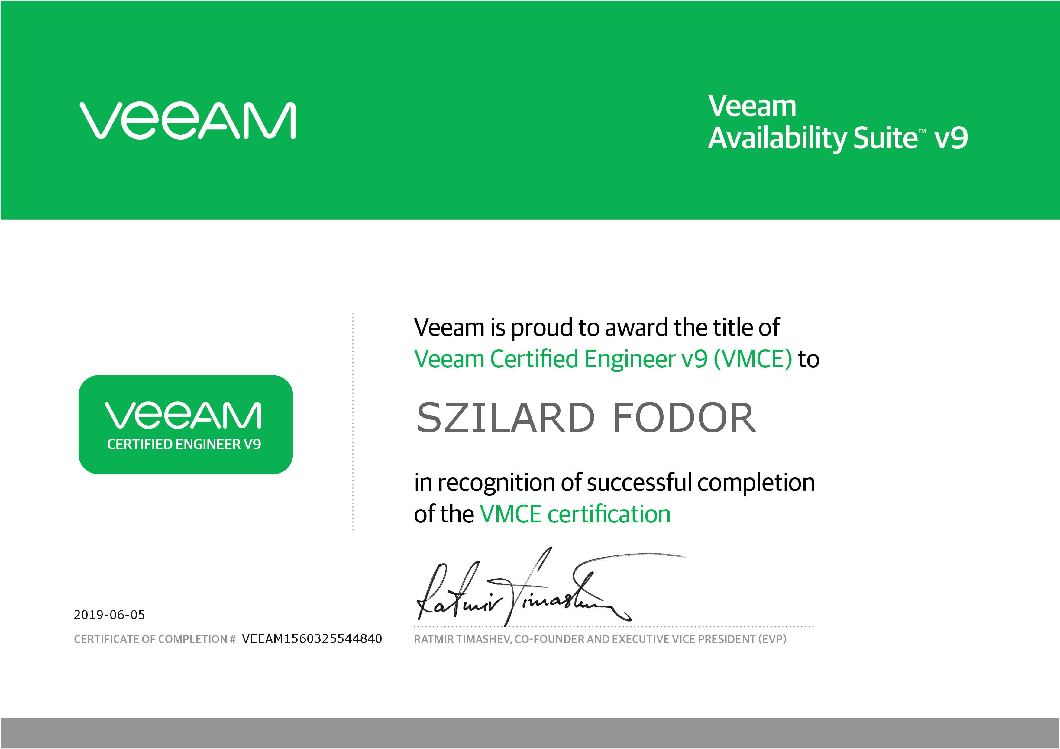 Certificat Veeam Szilard Fodor