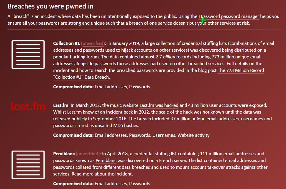 """HIBP îți arată sursele din care au fost """"extrase"""" datele despre contul tău."""