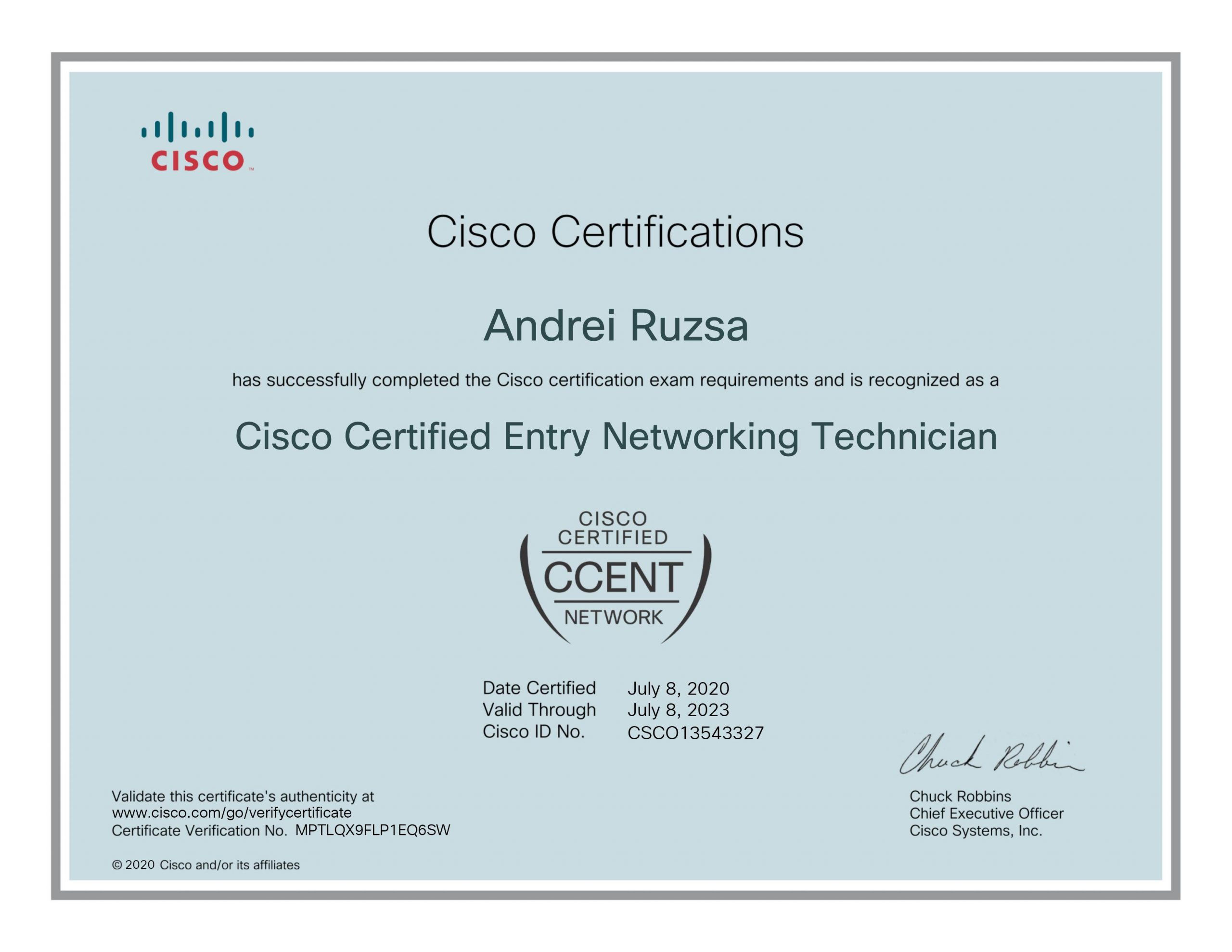 efectRO-Cisco_Certified_Entry_Networking_Technician_certificate