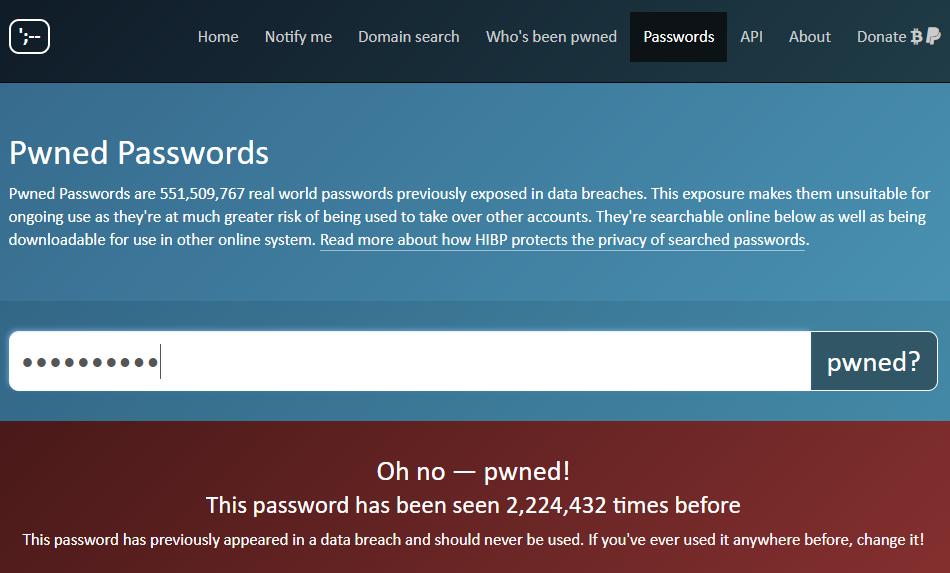 HIBP îți arată dacă parola tastată de tine apare în listele de date personale compromise.