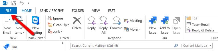 Localizarea opțiunii Autoreply / Răspunsuri Automate în Outlook 2013  - Meniul aplicației - File / Fișier.