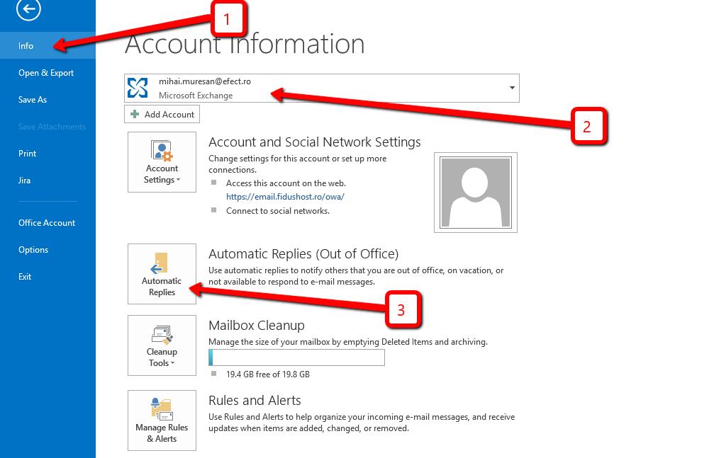 Localizarea opțiunii Autoreply / Răspunsuri automate în Outlook 2013 - Info - Automatic replies / Răspunsuri automate.