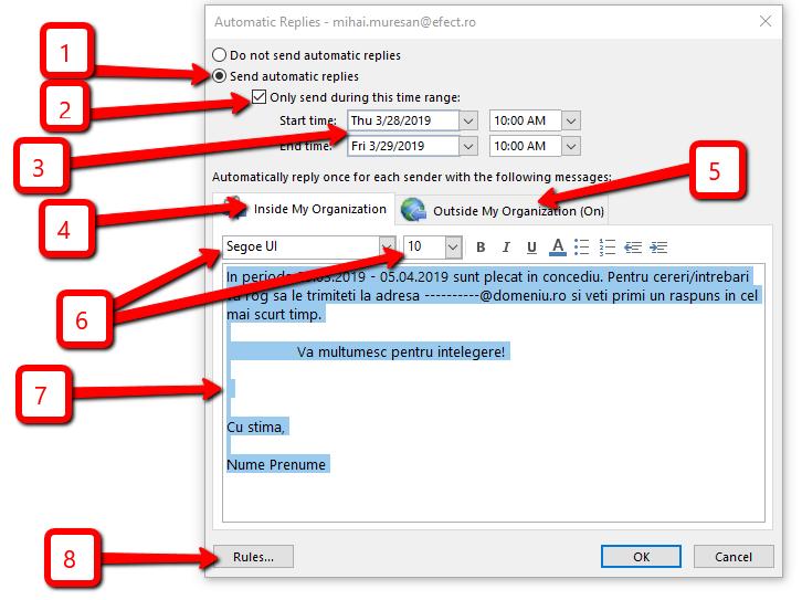 Setarea Răspunsurilor Automate / Autoreply în Outlook 2013: intervalul absenței, mesaje pentru colegi, mesaje pentru persoane din afara organizației, redirecționarea automată a mesajelor către o altă adresă.