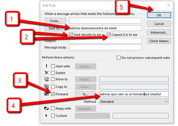 Setarea unei reguli de redirecționare automată a email-urilor în Outlook 2013.