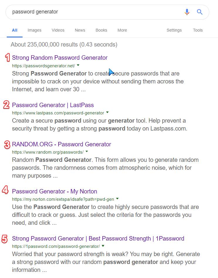 """Top 5 rezultate în motorul de căutare Google pentru fraza """"password generator""""."""
