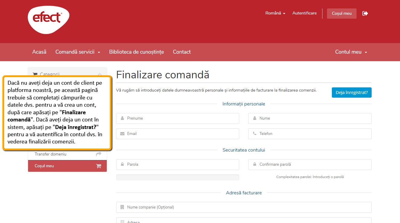 Transferarea domeniului la alt registrar: creare cont pe platforma efectRO