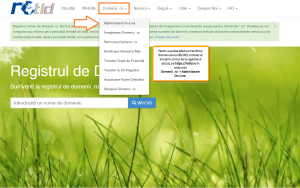 Transferarea domeniului la alt registrar: meniul Domenii.ro>Administrare On-Line