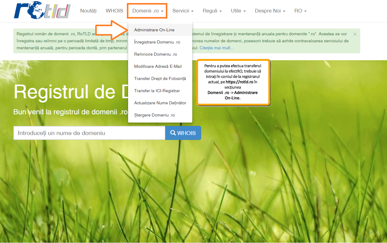 Transferarea domeniului la alt registrar: meniul Domenii.ro Administrare On-Line