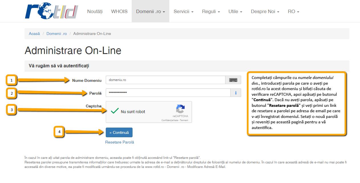 Transferarea domeniului la alt registrar: autentificare Administrare On-Line pe rotld.ro