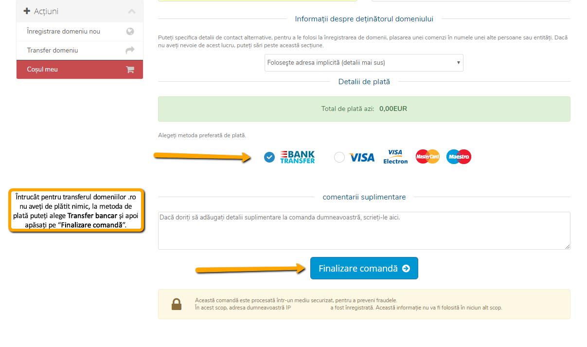 Transferarea domeniului la alt registrar: alegi modalitatea de plată