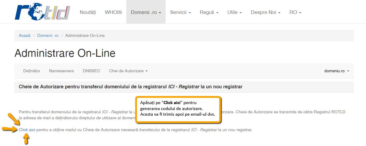 Transferarea domeniului la alt registrar: email cheie de autorizare