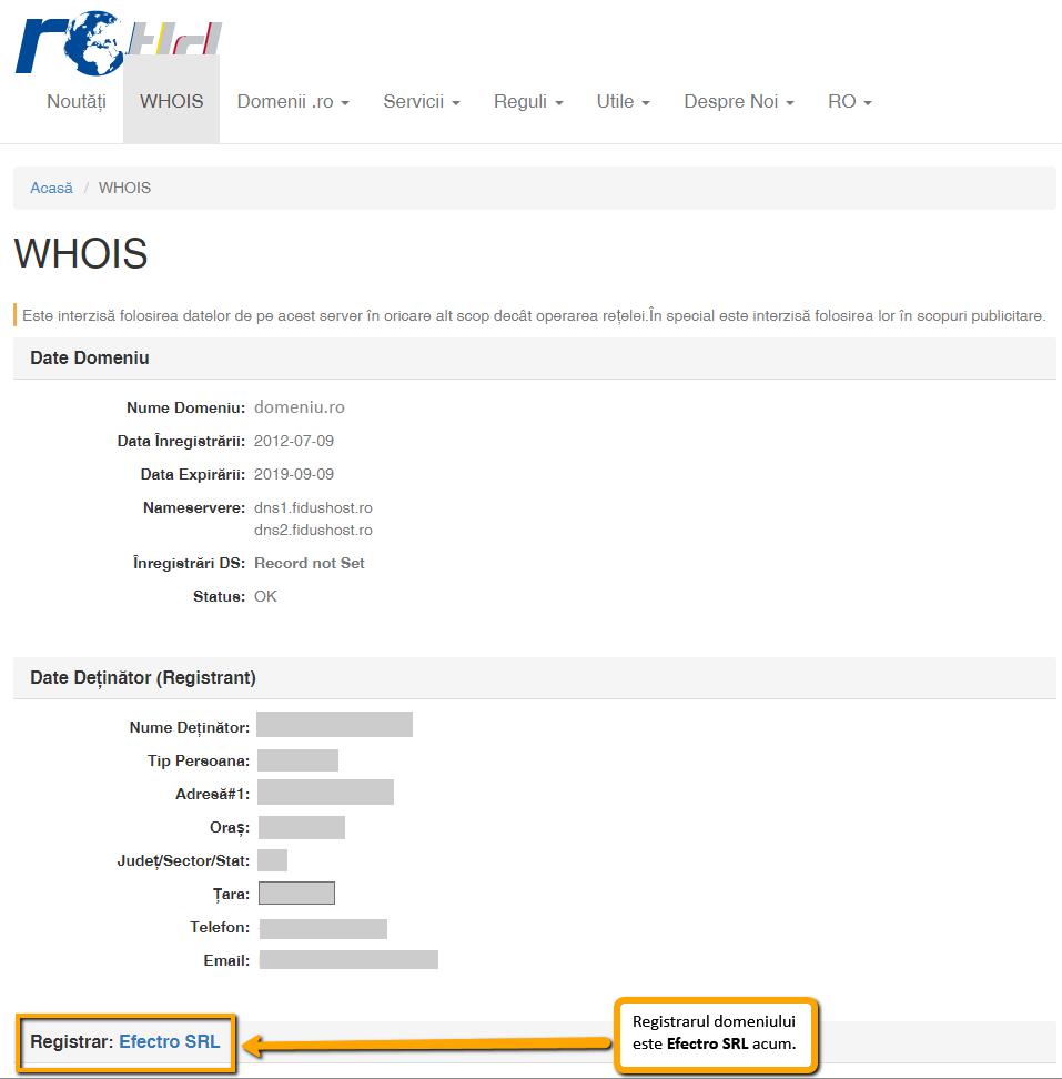 Transferarea domeniului la alt registrar: verificare registrar nou