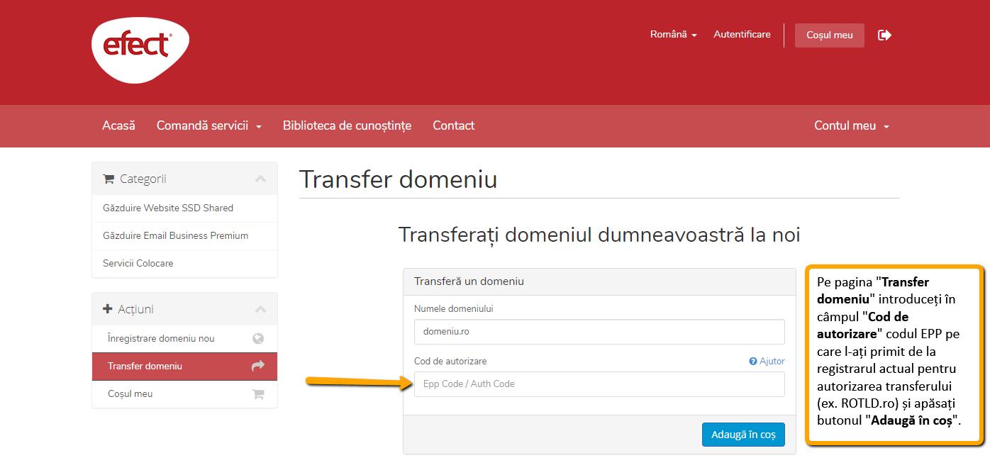 Transferarea domeniului la alt registrar: cheia de autorizare transfer pe portalul efectRO